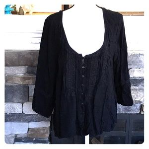 American Eagle black peasant blouse  lace xxl